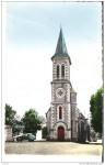 Église de Smarves 1963 (couleur avec la 2Cv de l'abbé Guignard immatriculée BQ )